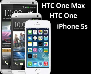 Diagonal Image Sizes: HTC One Max (5.9), HTC One (4.8), iPhone 5s (4.0)
